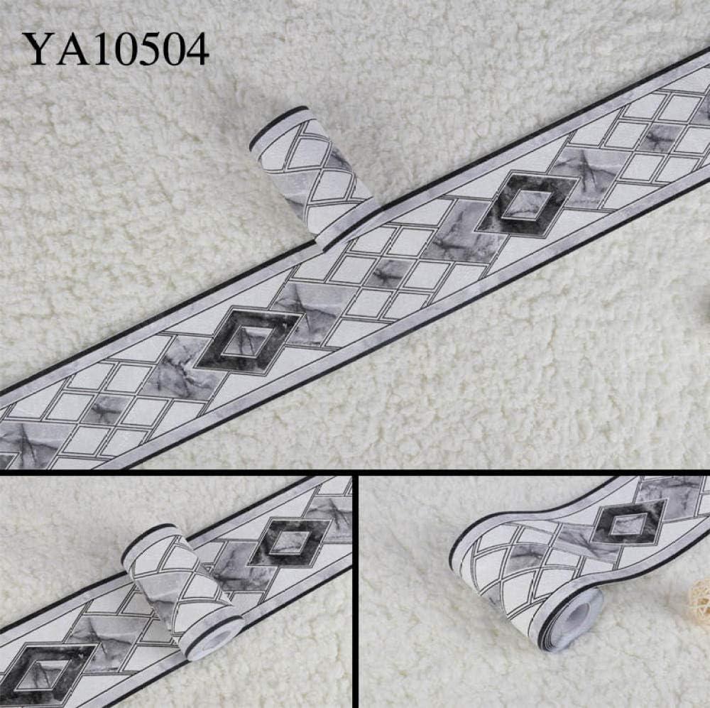 500CM*500cm ba/ño10.6 Borde del papel pintado Negro moderno 3D Auto Adhesivo del Papel Pintado del PVC Cenefa autoadhesiva para decoraci/ón de pared de cocina