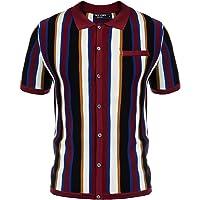 Men's Vintage Short Sleeve Knit Stripe Polo Shirt