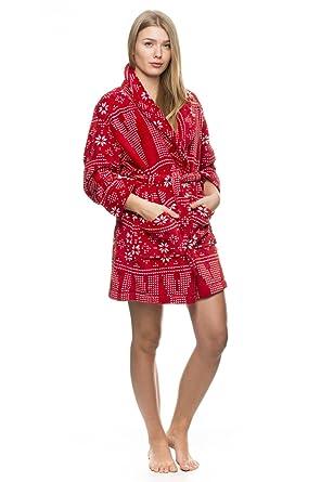 4bb7a44818a21d DKNY Damen-Bademantel Snow Day Rot XL: Amazon.de: Bekleidung