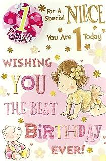 Niece 1st Birthday Card Badge