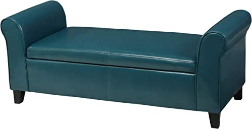 Christopher Knight Home Hayes Armed PU Storage Bench, Teal