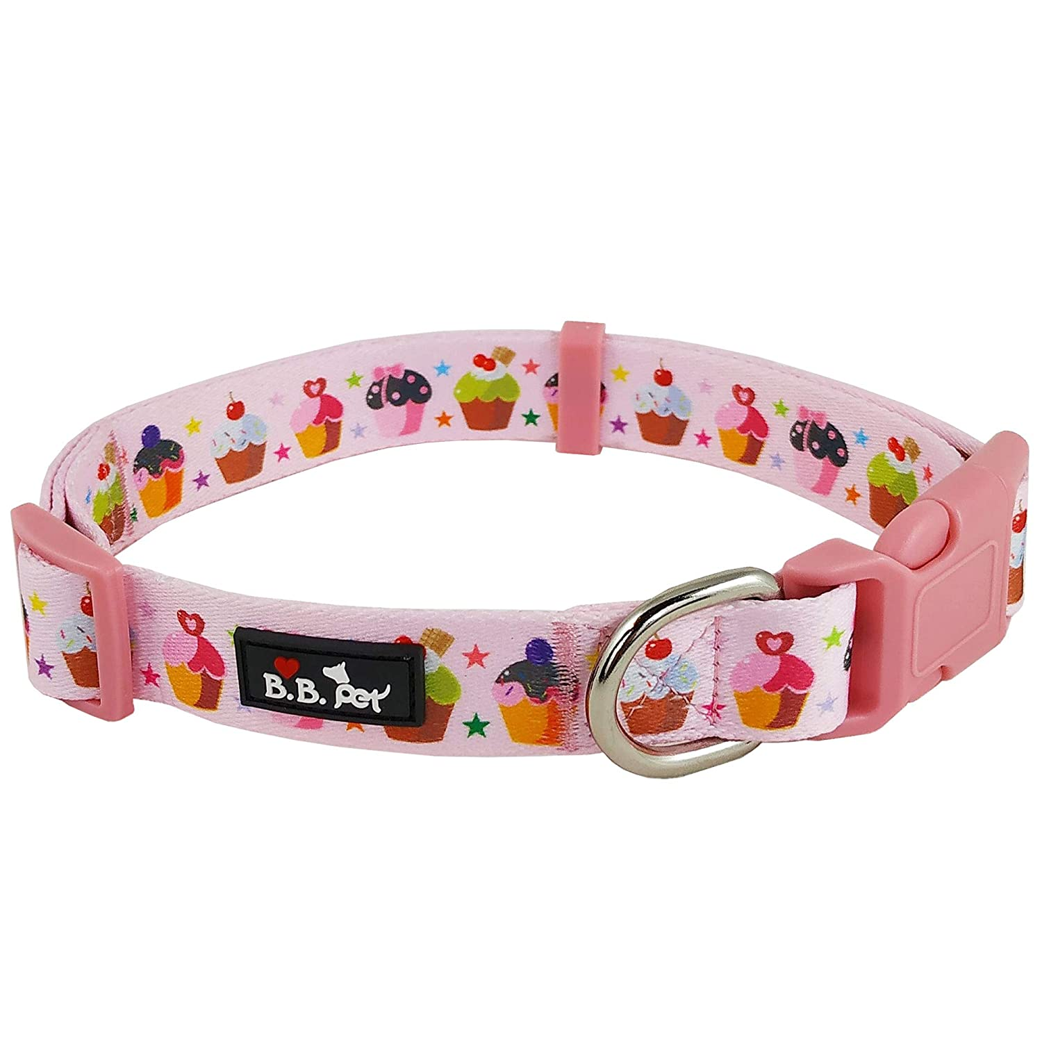 11\ Bestbuddy Pet colorful Cupcakes Pink Durable Nylon Designer Fashion Dog Collar Trendy Comfortable Adjustable Dog Collar with Buckle BBP026