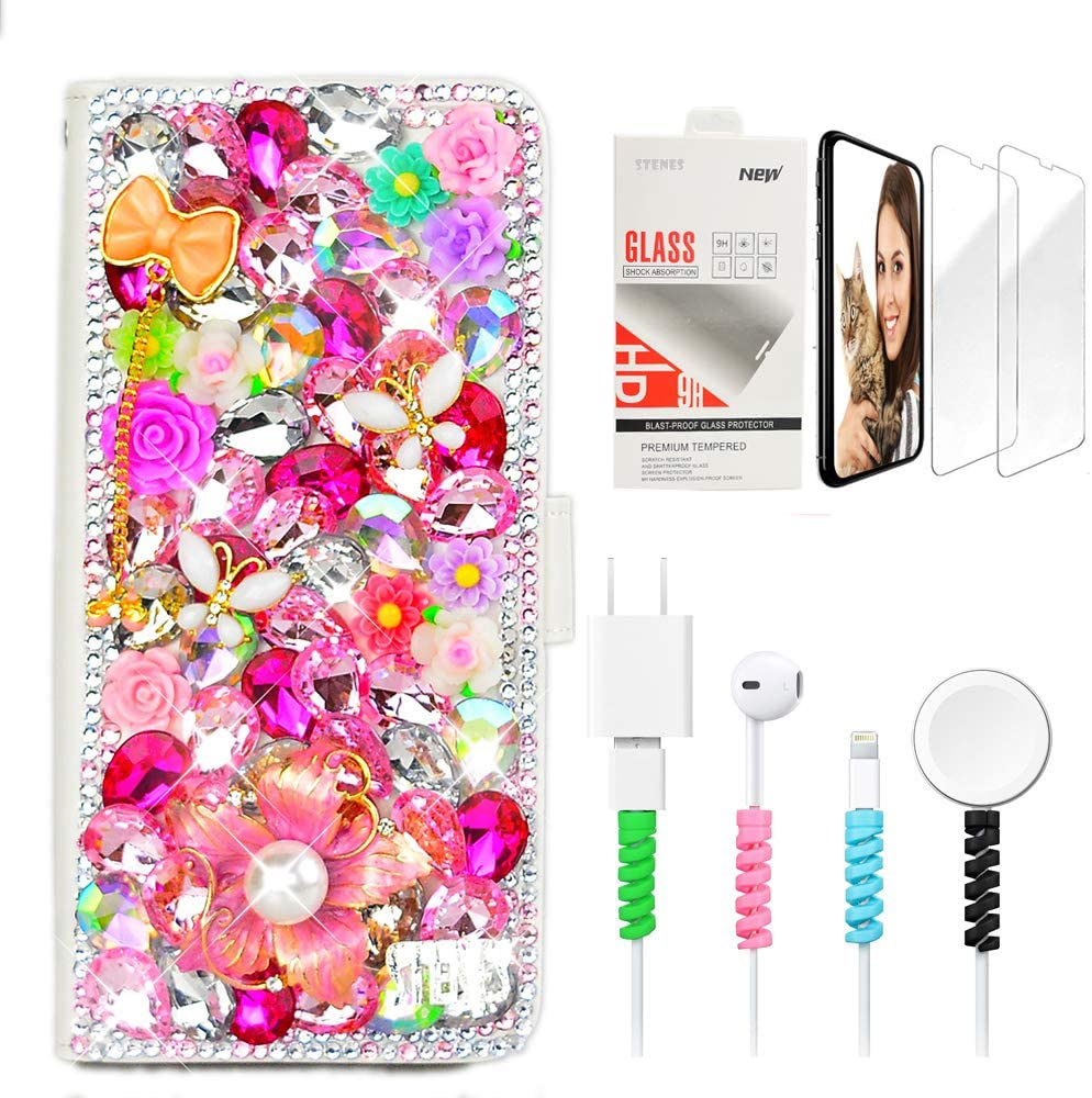 STENES Bling Wallet Phone Case Compatible with Google Pixel 2 XL - Stylish - 3D Handmade Luxury Flowers Butterfly Floral Bow Pendant Leather Cover Case with Screen Protector & Cable Protector - Pink