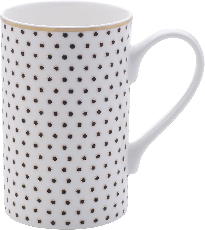 Amazon Com Mikasa Bone China Coffee Mug 16 Ounce Dots White Gold Kitchen Dining