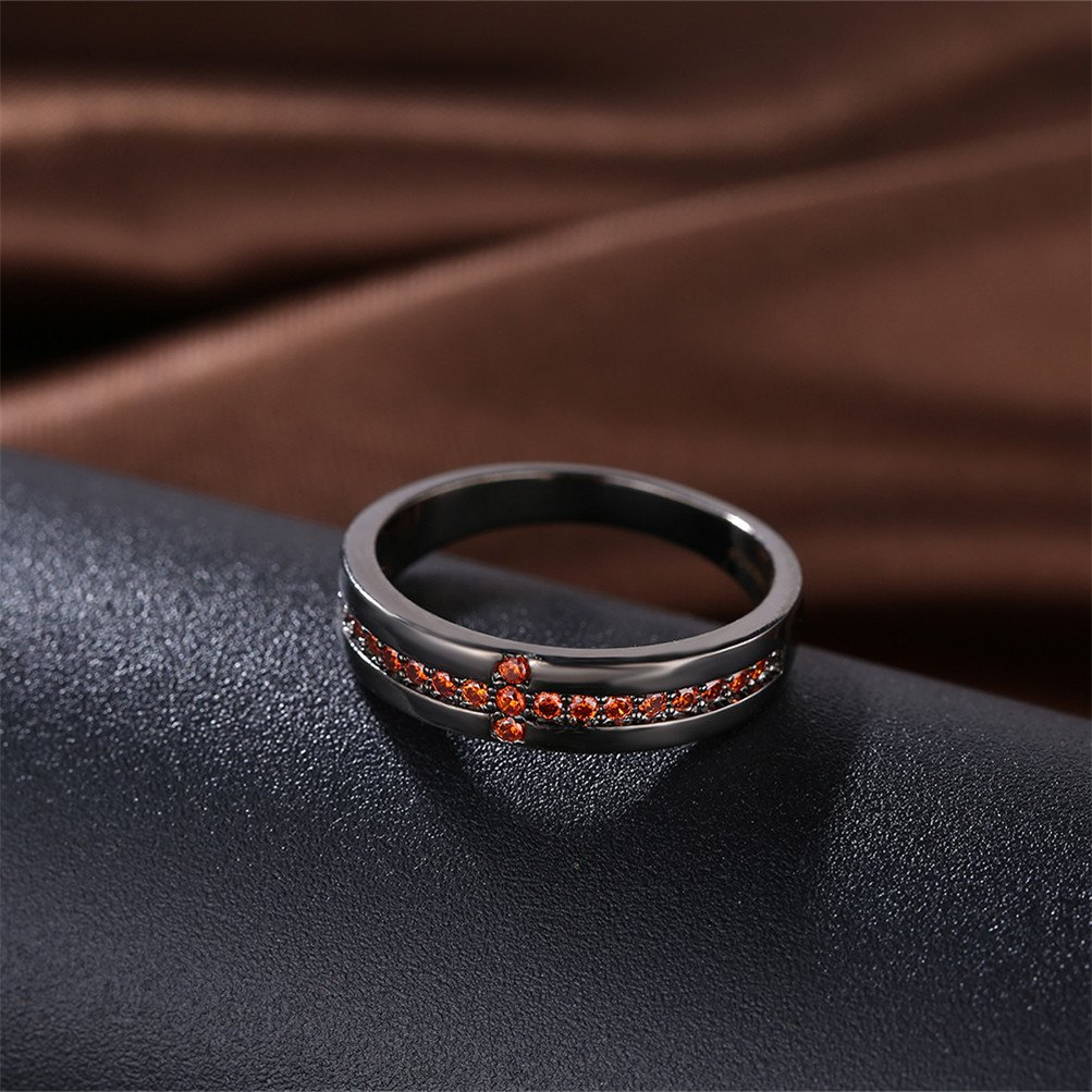 Black Infinity Love Knot Cross Christian Ring Wedding Band 18K Gold Plated Gift For Lover by Mrsrui (Image #3)