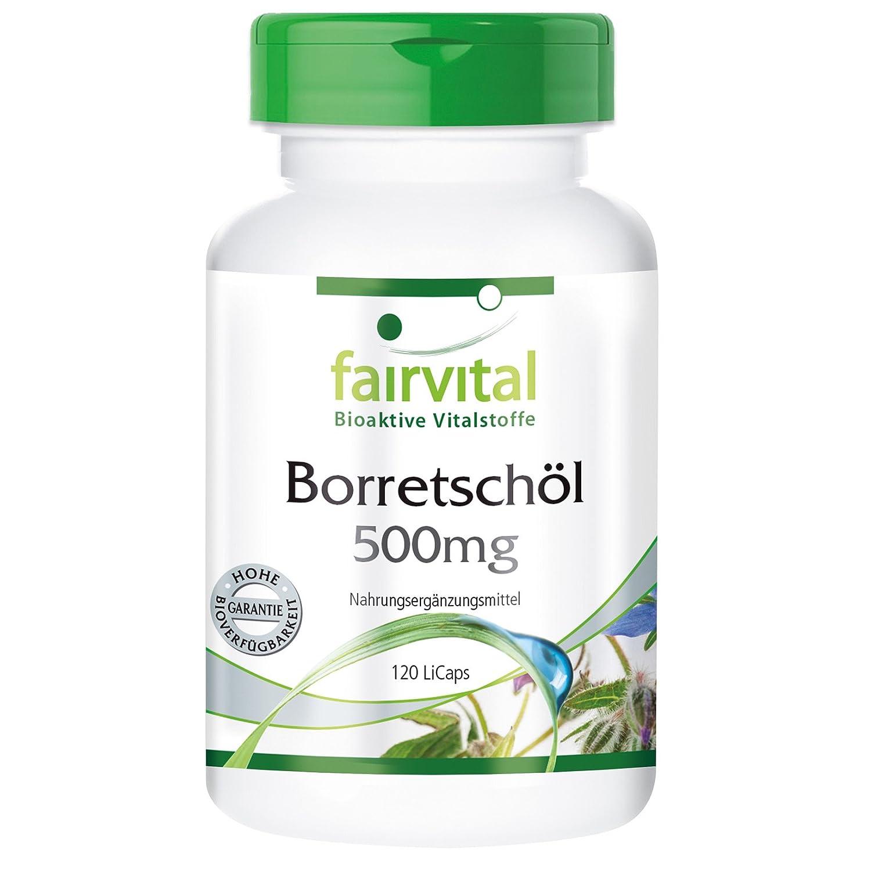 Borraja 500 mg de aceite - para 2 meses - VEGAN - dosis alta - 120 Licaps - rico en ácido gamma linolénico (omega-6): Amazon.es: Salud y cuidado personal