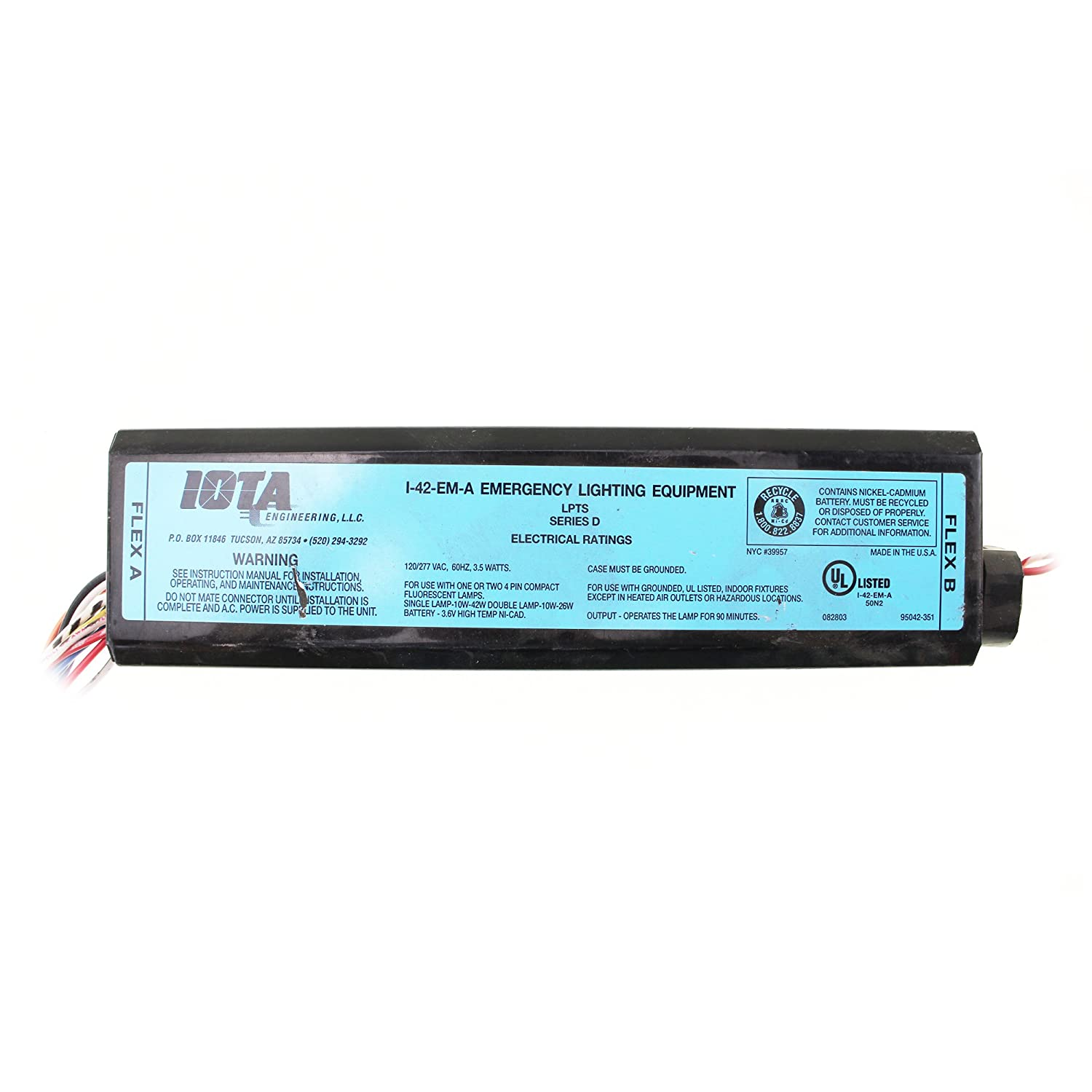 Iota I 42 Em A Emergency Backup Battery 90 Min Operates 10w Lighting Fluorescent Lamp Wiring Diagrams 42w 4 Pin Rapid Start Compact Twin Triple Quad Tube 2d And Straight 18w 36w Long Lamps 120 277 Volt