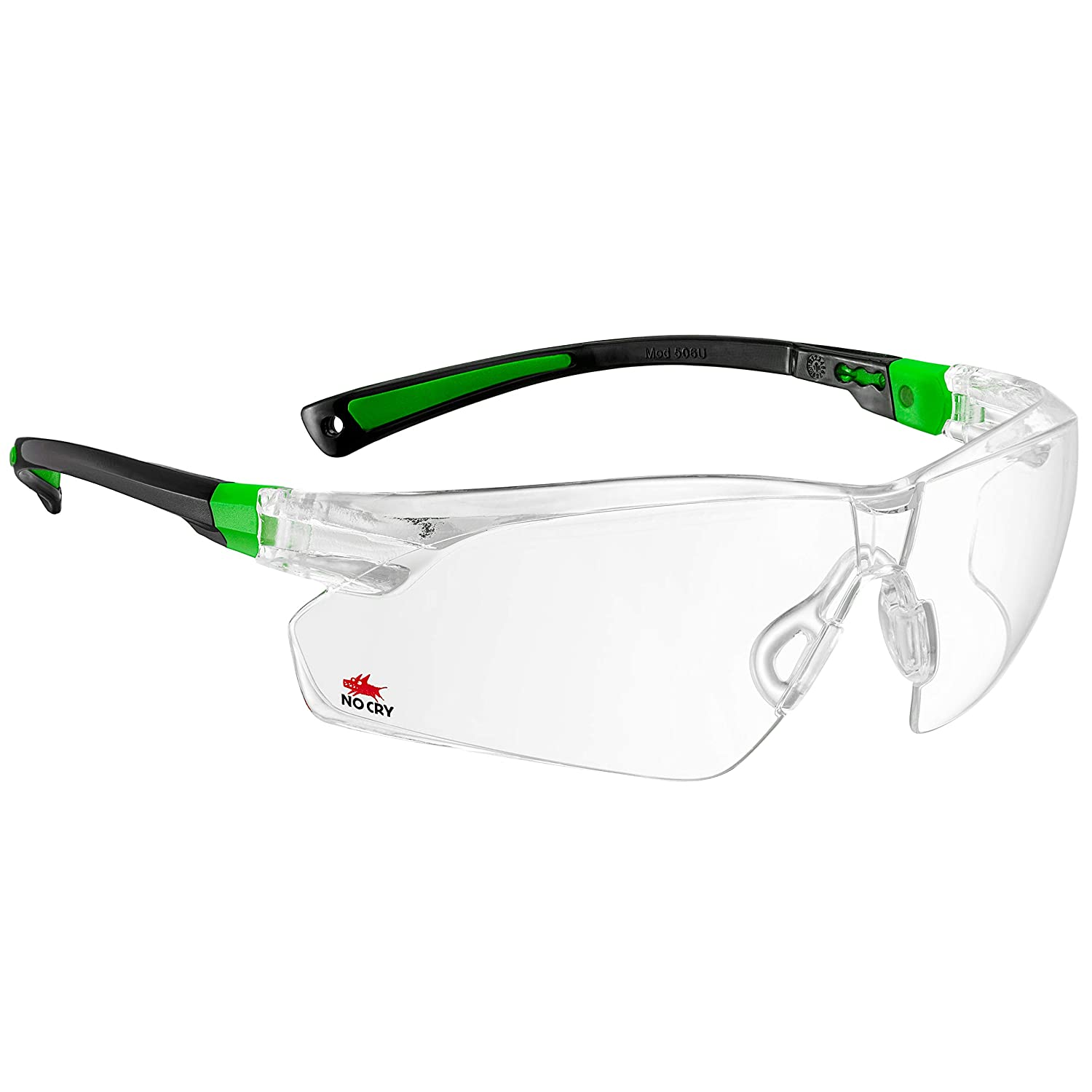 38e3b95042 NoCry Safety Glasses with Clear Anti Fog Scratch Resistant Wrap-Around  Lenses and No-Slip Grips