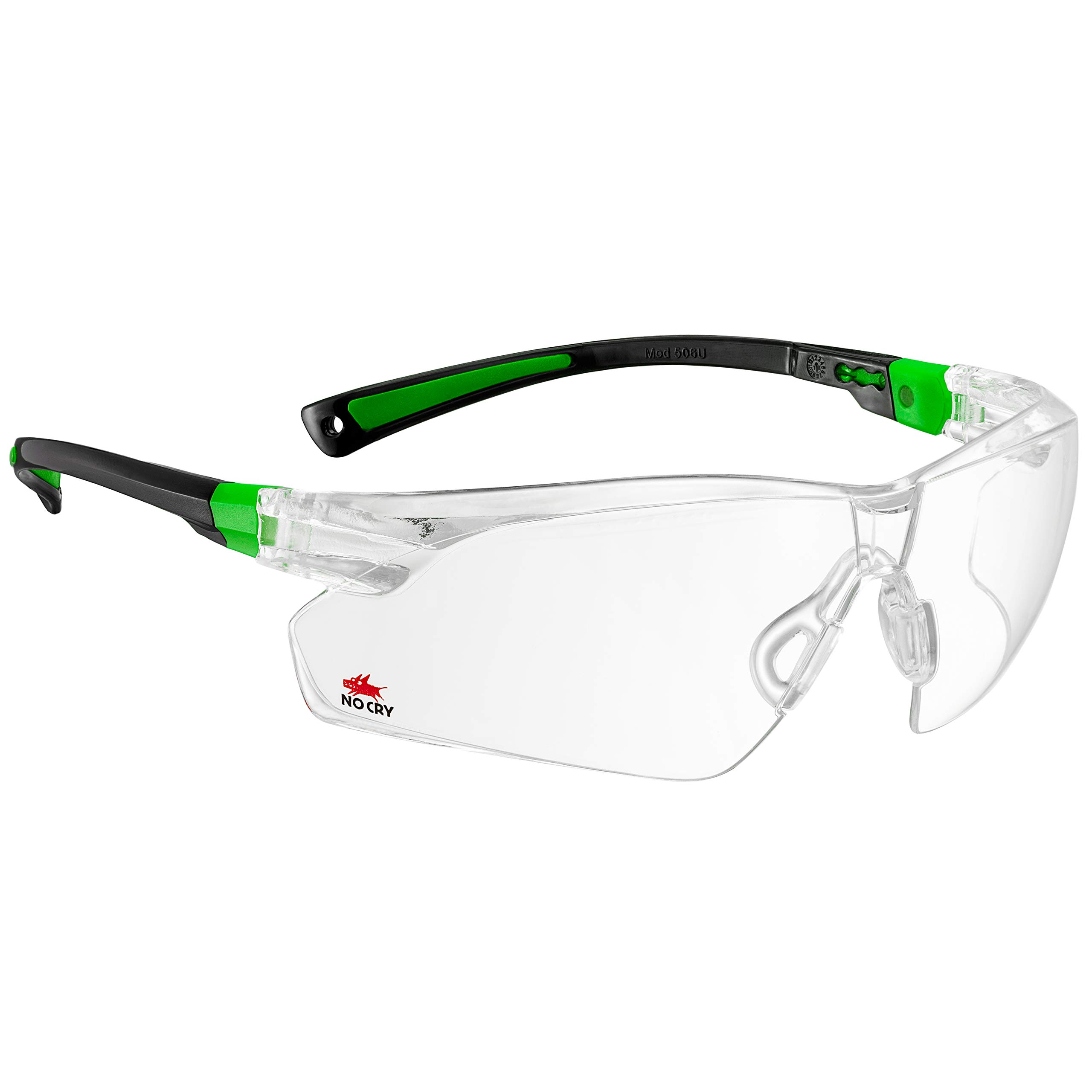 NoCry Safety Glasses with Clear Anti Fog Scratch Resistant Wrap-Around Lenses and No-Slip Grips, UV Protection. Adjustable, Black & Green Frames by NoCry