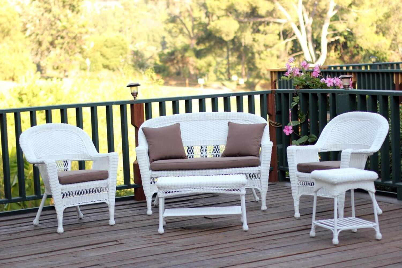 Amazon Com 5 Piece Flynn White Wicker Patio Chair Loveseat