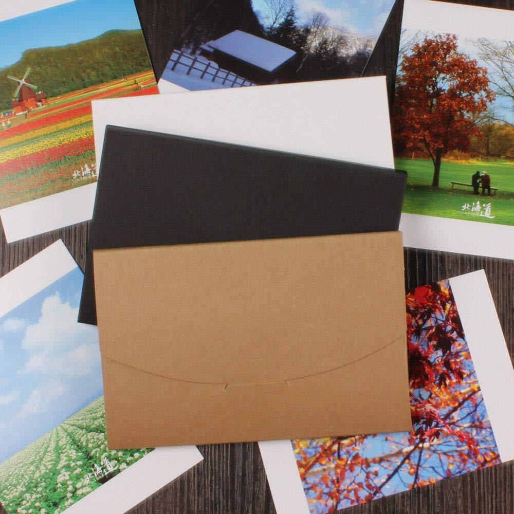 FidgetKute 10.5x16+0.5cm Kraft Paper Postal Card Postcard Po Packaging Box Envelope Bag Black 130