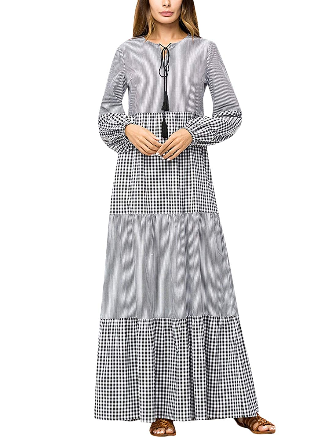 4e12ec403b0a Tanming Womens Casual Loose Baggy Long Lantern Sleeve Stitching Striped Maxi  Dress at Amazon Women s Clothing store