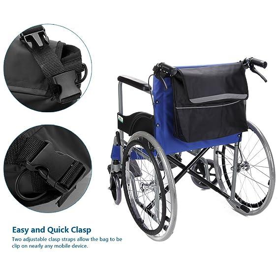 Silla de ruedas reposabrazos estuche organizador bolsa de almacenamiento para lateral y parte trasera de asiento - se adapta a la mayoría Scooters, ...