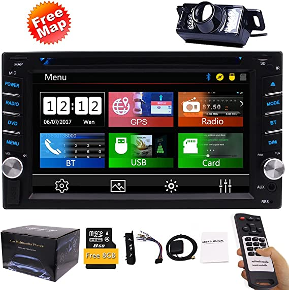 7 inch Car MP5 Player Double Din GPS Navigation in Dash Audio Video Player 2 din Car Stereo System in-car Entertainment Head Unit Support USB//SD//AUX//FM Radio//Full Touchscreen//Wireless Backup Camera