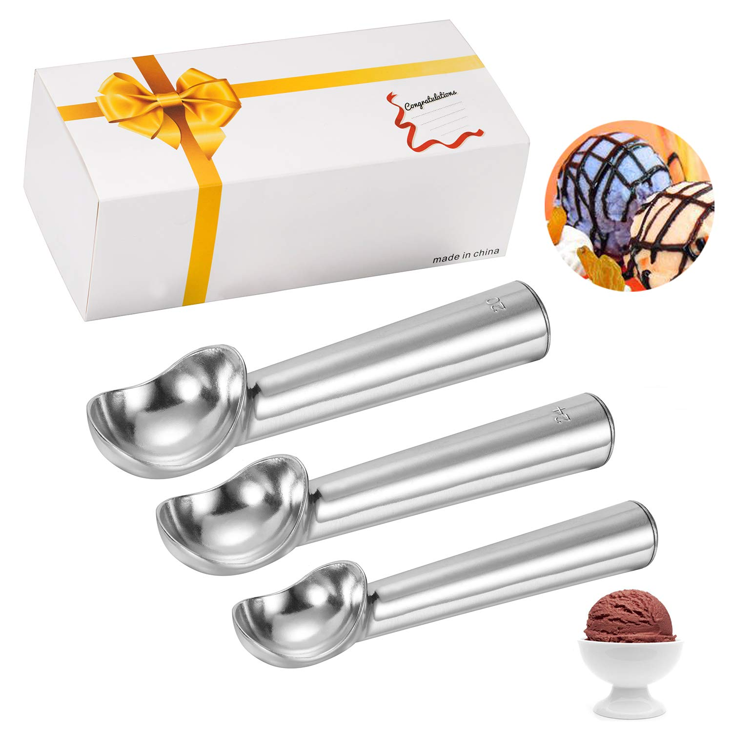 Hard Ice Cream Scoops- Anti-Freeze Solid Stainless Steel Scoops No-Thaw for Everything from Hard Ice Cream to Gelato and Sorbet MAGICYOYO 4335513034