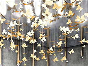 Laugh Cat Creative DIY Flying Bird Decorative Hanging Ornaments for Ceiling Light Kindergarten Shopping Mall Home Window Decoration (10, Gold Butterfly)