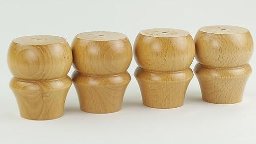 4 patas de madera maciza de repuesto para pies, 100 mm de ...