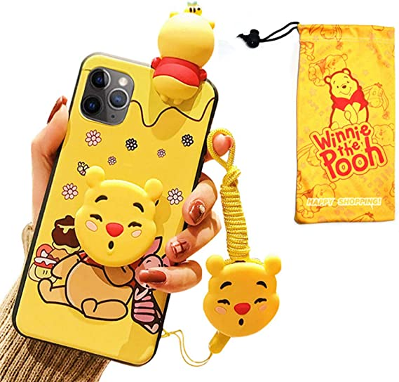 VANVENE Cute 3D Winnie Cartoon Funny Animal Character Case Cover Compatible with iPhone 11 Pro Case 5.8