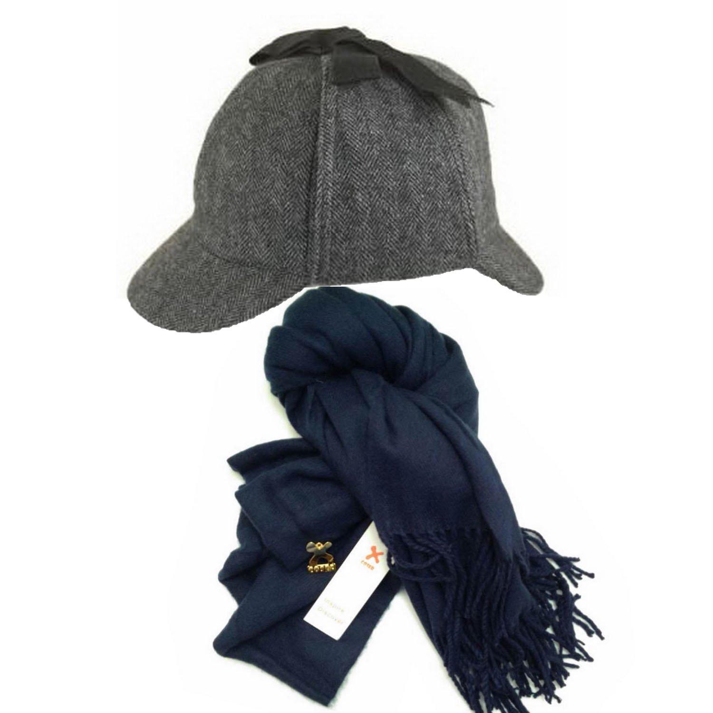 XCOSER Sherlock Detective Hat & Scarf Set for Halloween