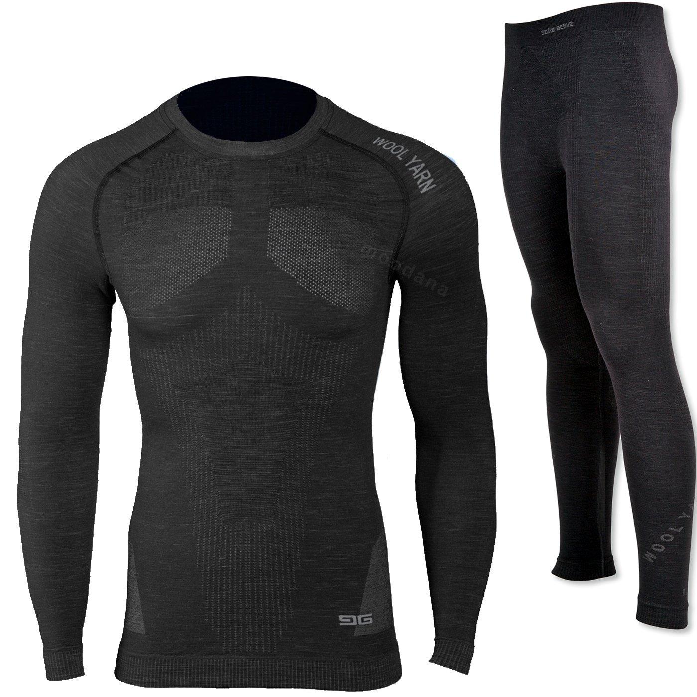 Gatta Herren Thermounterwäsche Skiunterwäsche Set T-Shirt und Unterhose Merino Wolle