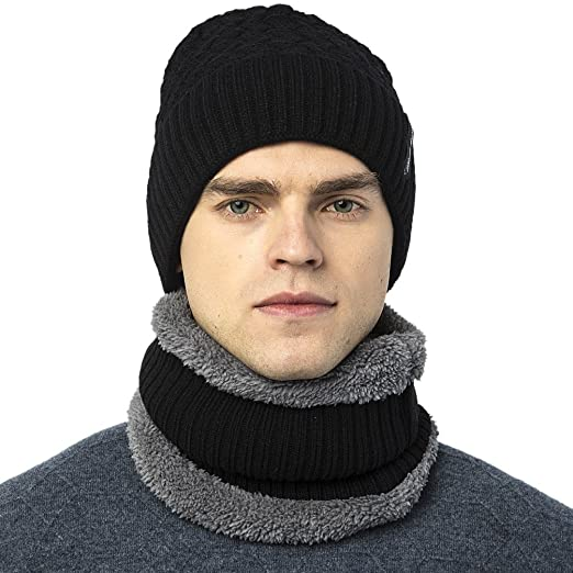 e2e04b1c63e Novawo Thick Fleece Lined Stretchy Beanie Cap + Neck Warmer Set For Men  Women