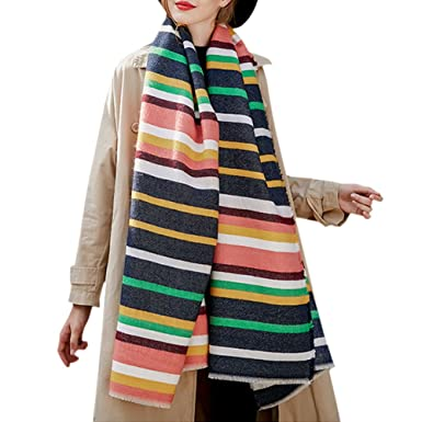 Petalum Écharpe Longue à Rayures Multicolore Douces pour Femmes avec Glands  Hiver Chaud Couverture Grand Châle b16aa702df0