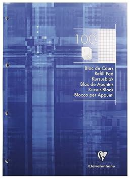 Clairefontaine 5816c Un Bloc De Cours Perforé 4 Trous 200 Pages 21 X 297 Cm 90 G Petits Carreaux Couverture Couleur Bleu
