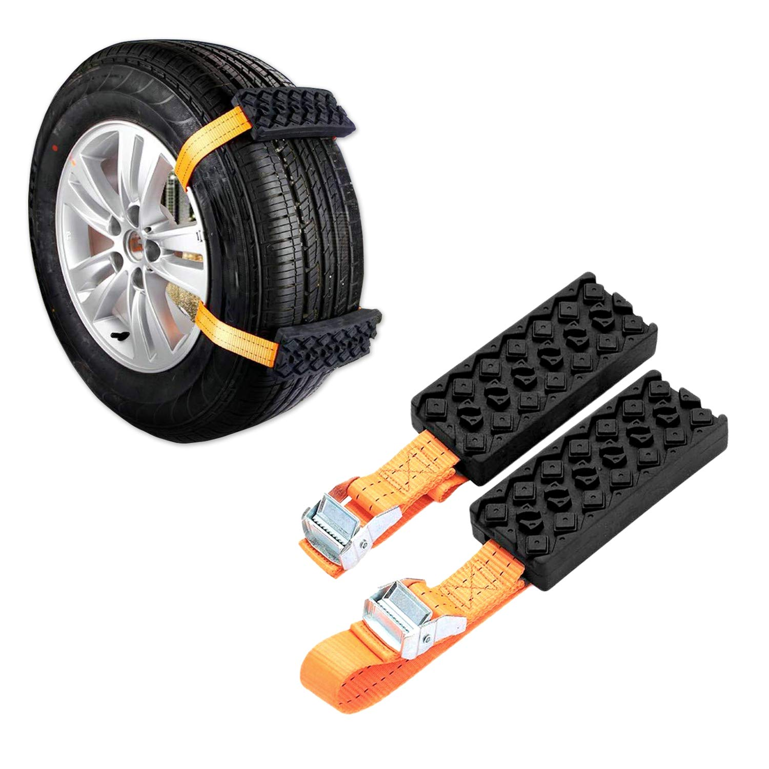 Jeebel Camp 2PCS Car Snow Chains, Universal Car Anti-Skid Rubber Nylon Snow Mud Chain Emergency Anti-Slip Tire Straps Traction - Easy Installation/Removal for Car Truck & SUV on Snow Ice Mud Road