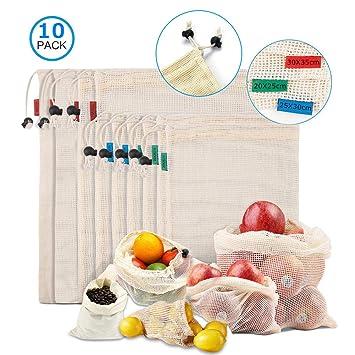 bolsas reutilizables compra,juego de 10 Bolsas de artículos de malla Bolsas ligeras con cordón de compras Algodón lavable de desperdicio cero para ...