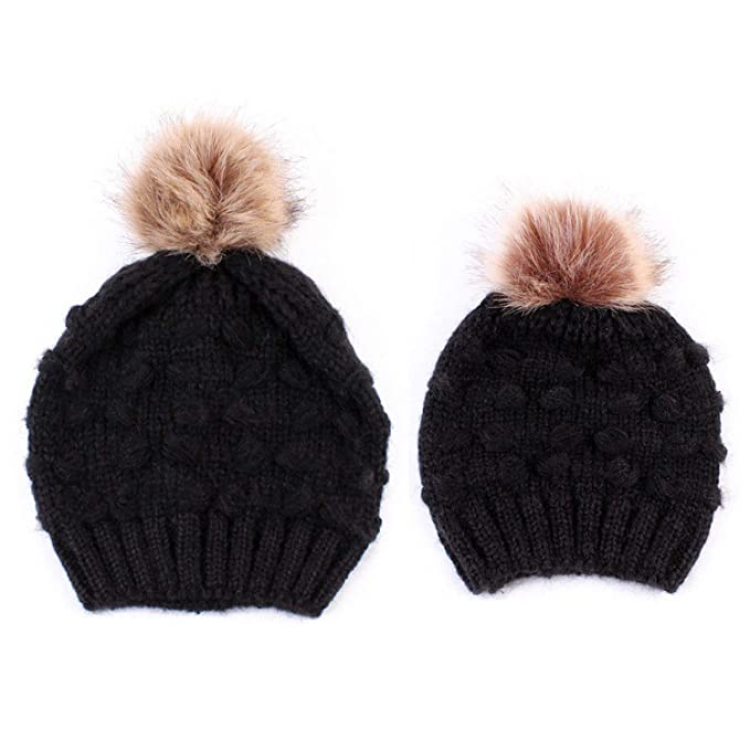 d1e400586 Mommy and Me Matching Soft Knit Beanie with Pom Pom Winter Warm ...