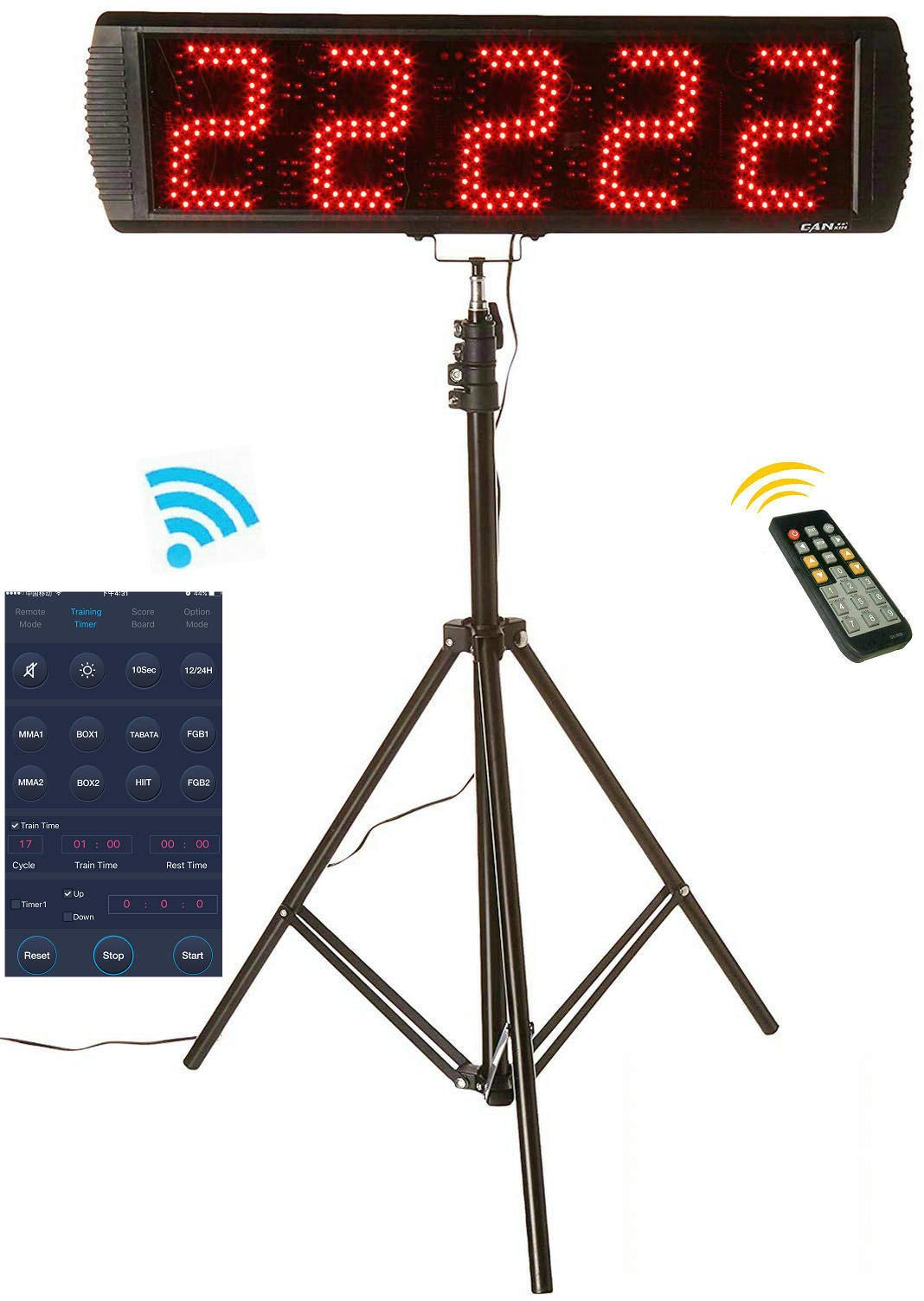 GAN XIN App-Control 5'' High 5 Digits LED Race Clock with Tripod for Running Events, Countdown/up Digital Timer, by Remote Control by GAN XIN