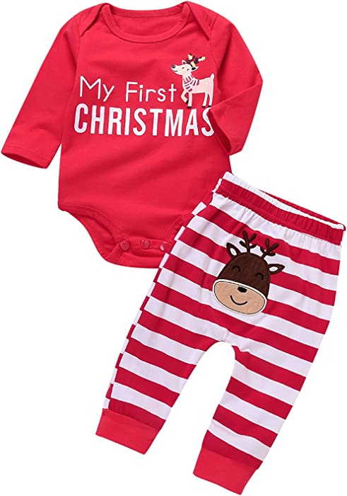 677ab7899 Amazon.com  2 Pcs Christmas Clothes Set Baby Boys Girls Reindeer ...