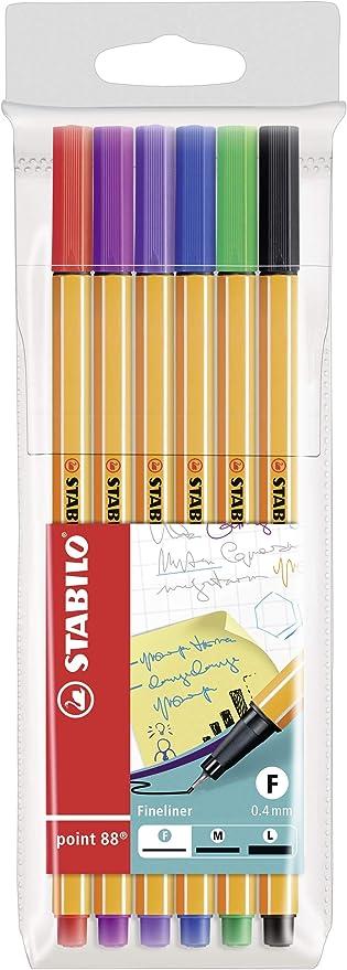 Rotulador punta fina STABILO point 88 - Estuche con 6 colores: Amazon.es: Oficina y papelería