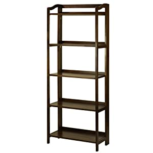 Casual Home Stratford 5-Shelf Folding Bookcase-Warm Brown