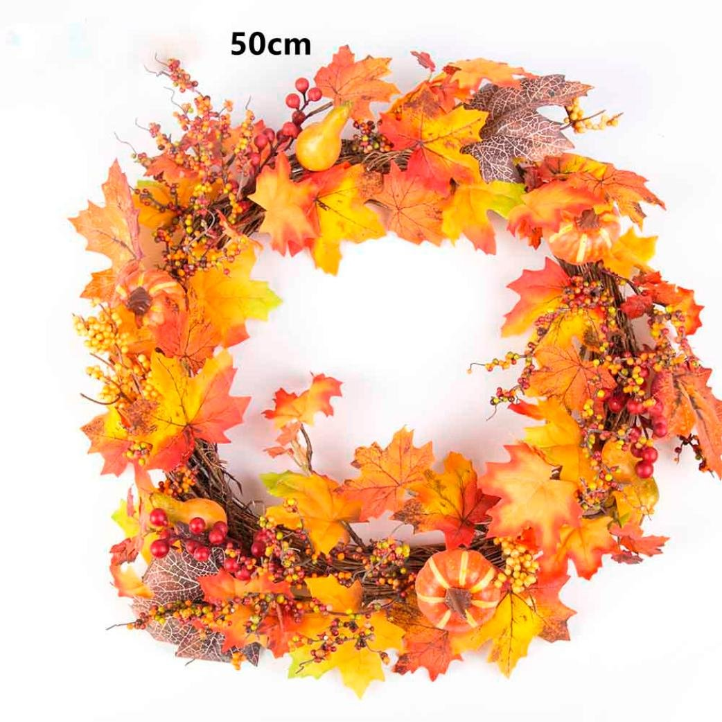 Sunward Christmas Fall Wreath with Mixed Maple Leaves, Thanksgiving Wreath,30/40/50cm (Orange4(50cm))