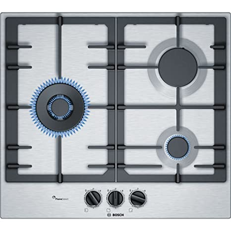 Bosch PCC6A5B90 hobs Acero inoxidable Integrado Encimera de gas - Placa (Acero inoxidable, Integrado, Encimera de gas, Acero inoxidable, 1000 W, ...