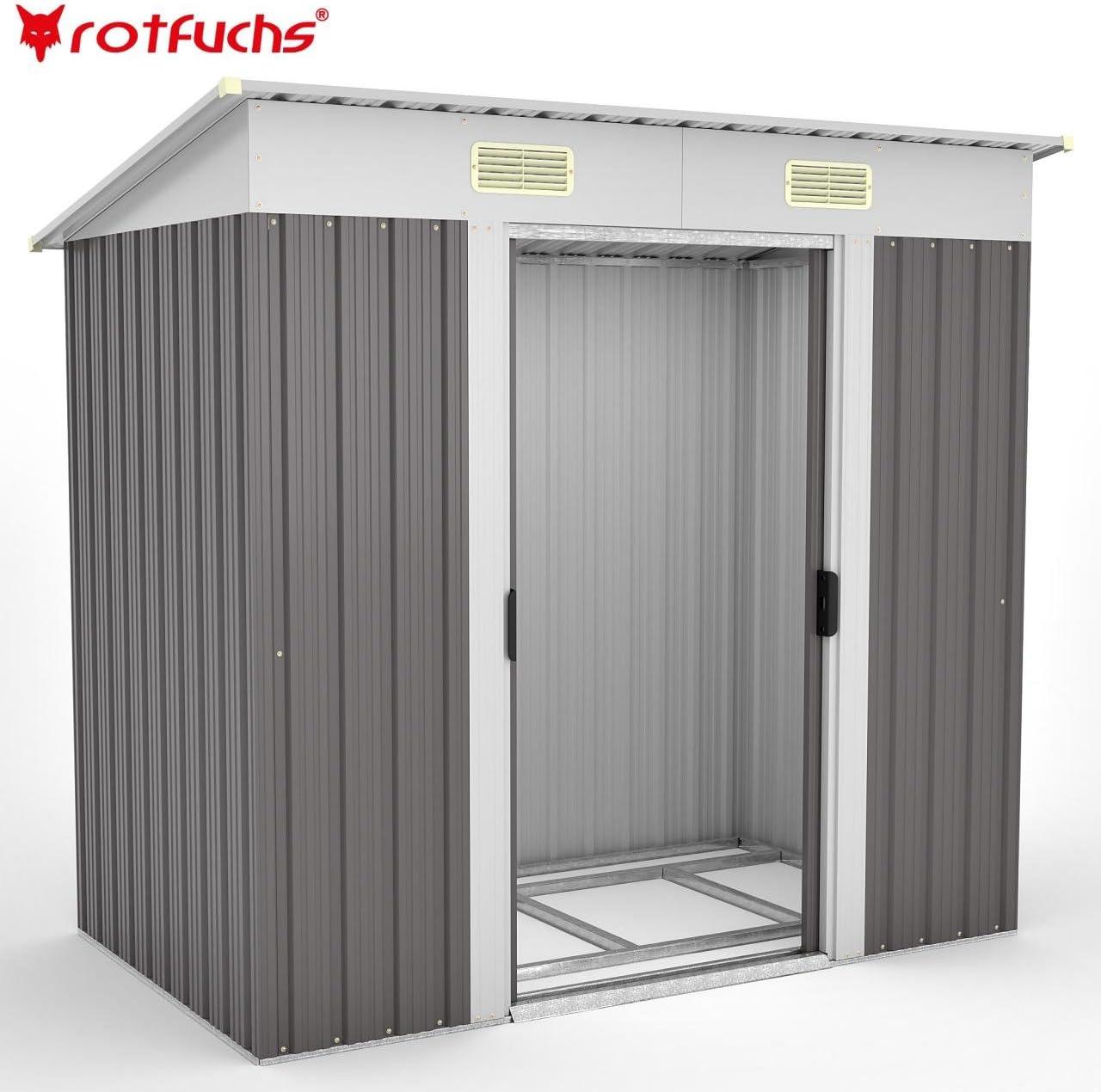 Cobertizo de jardín metálico Rotfuchs, cobertizo para herramientas, jardín, cobertizo, caseta de jardín, incluye base: Amazon.es: Jardín