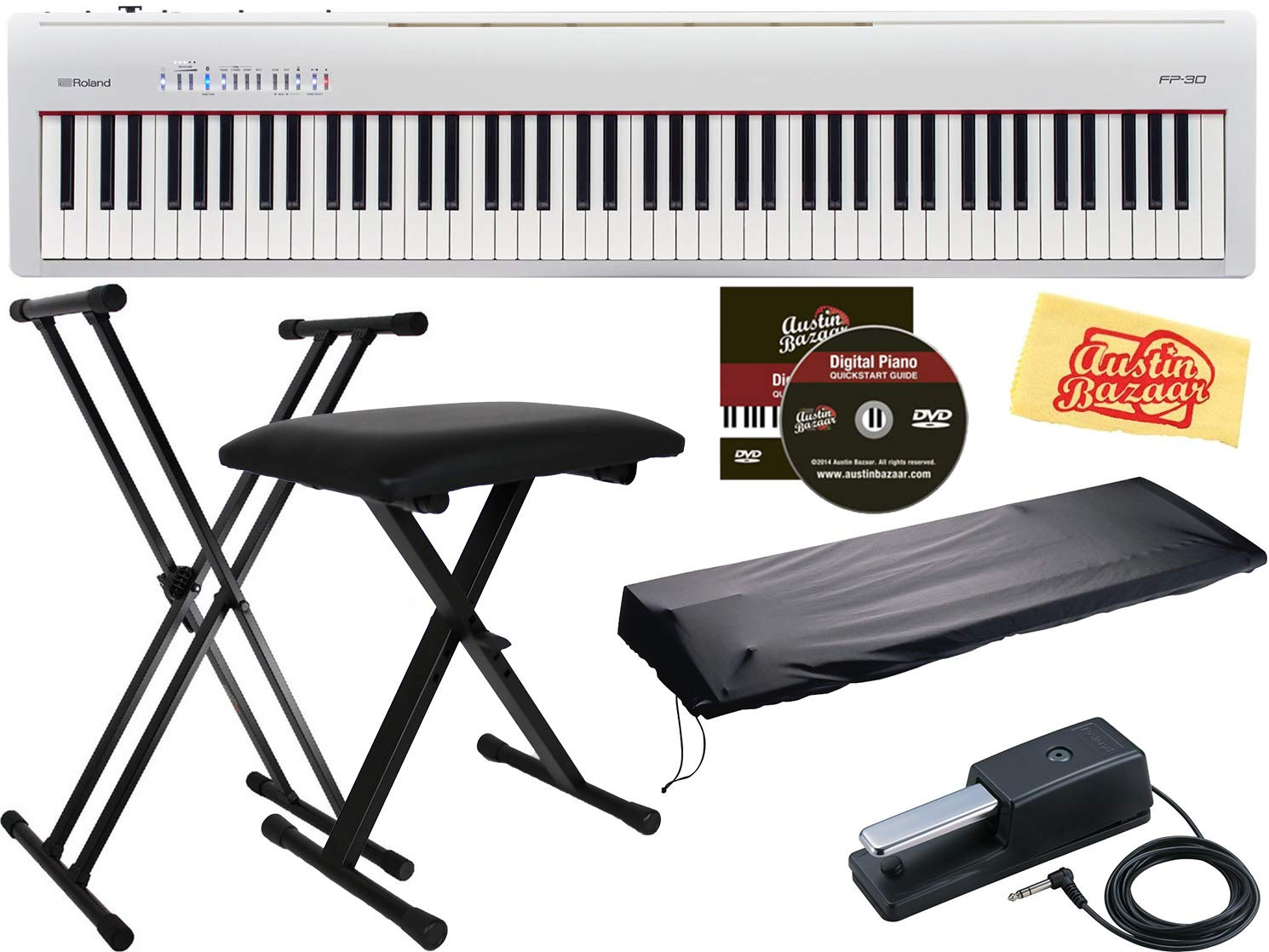 Roland Fp 30 Digital Piano White Bundle With Roland Amazon In Electronics
