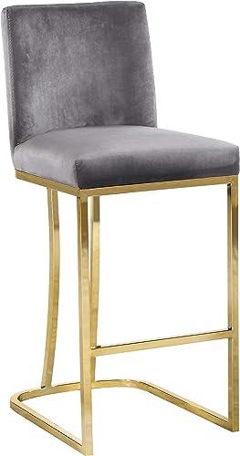 Meridian Furniture Heidi Collection Modern   Contemporary Velvet Upholstered Counter Stool