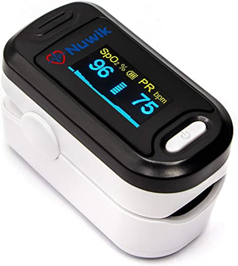 Nuwik Pulse Oximeter Fingertip With Audio Visual Alarm - OLED Display - with Battery and Lanyard (Moonlight Black))