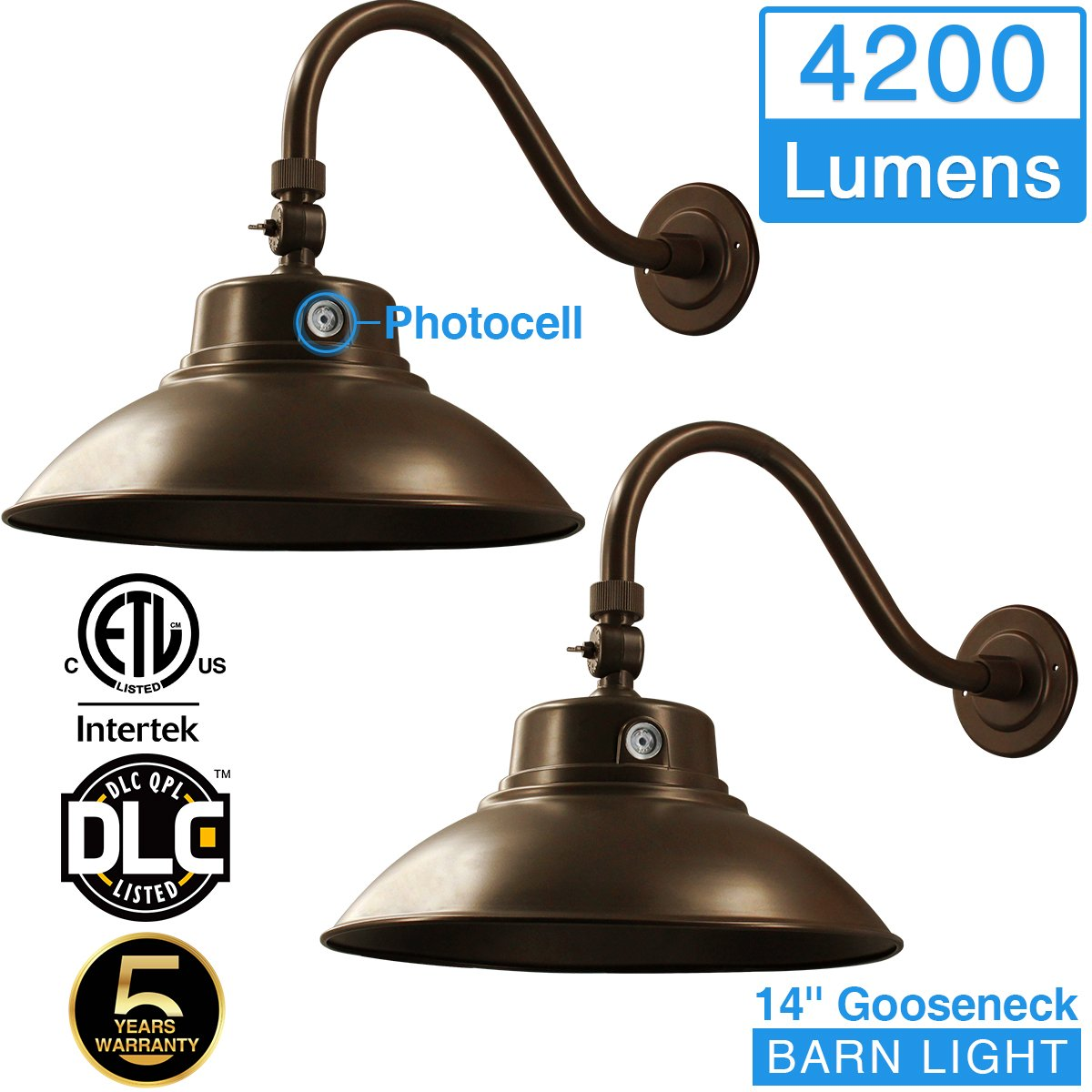 14in. Brown LED Gooseneck Barn Light 42W 4200lm Daylight LED Fixture for Indoor/Outdoor Use - Photocell Included - Swivel Head,Energy Star Rated - ETL Listed - Sign Lighting - 5000K Daylight 2pk