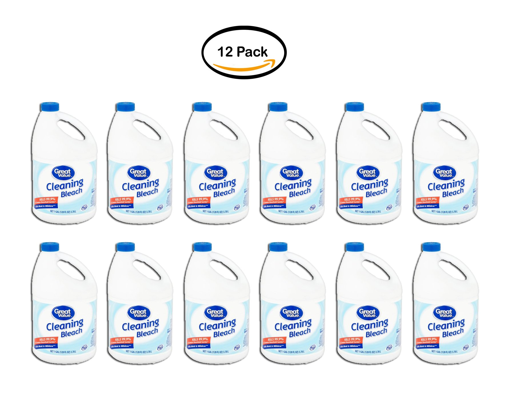 PACK OF 12 - Great Value Cleaning Bleach, 128 fl oz