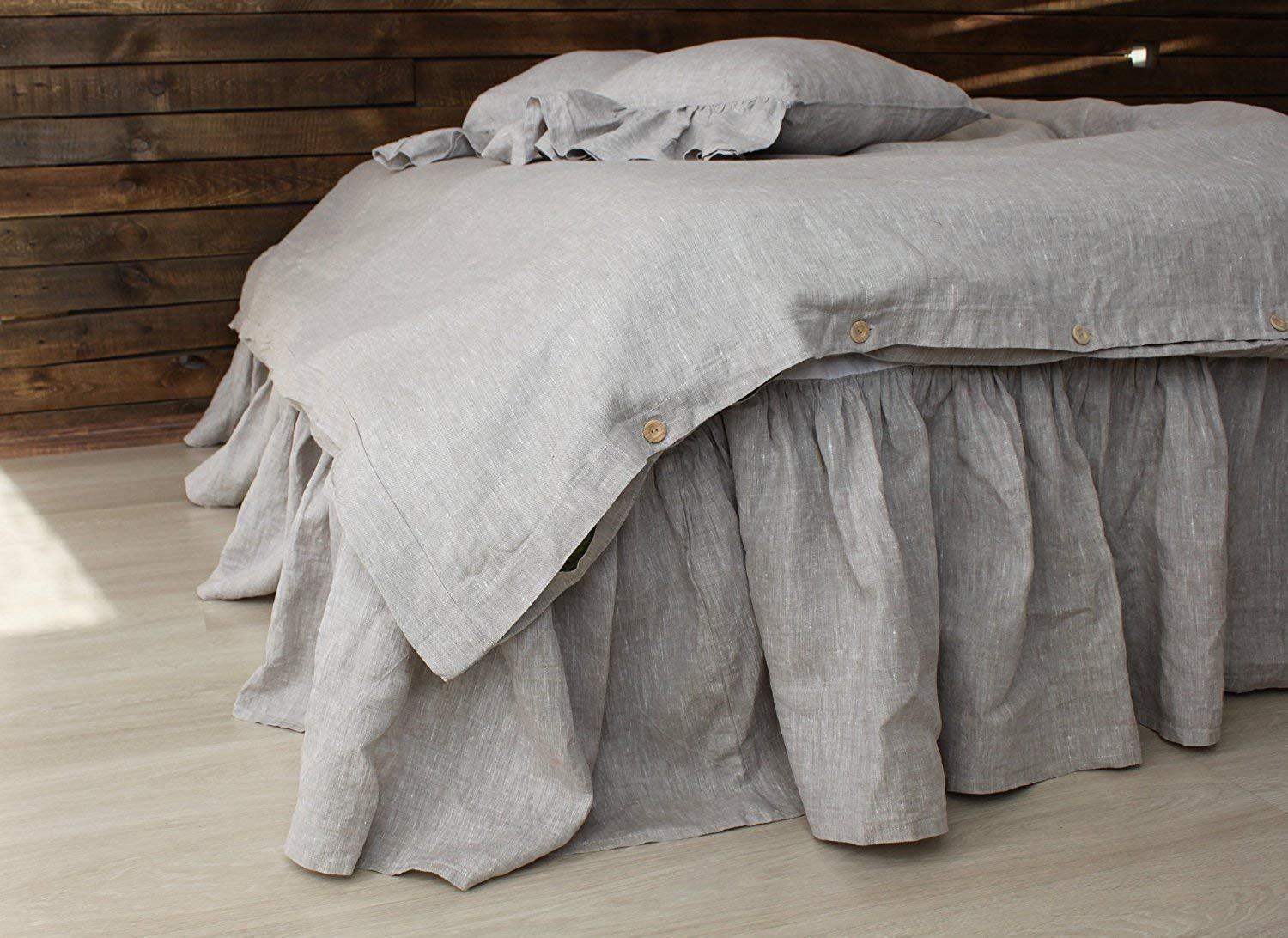Linen Bed Skirt with Gathered Ruffles and Linen Blend Decking - Natural Linen Oatmeal, White or Grey Colors