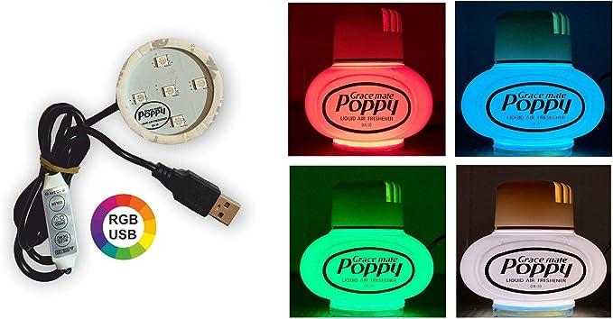 Original Poppy Grace Mate Usb Led Scheibe Rot Grün Und Blau 3m Sticky Pad Für Lkw Und Auto Auto