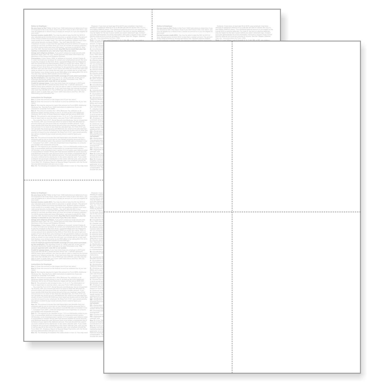 """(1 Pack - 100 Sheets) W-2 4-nach oben Employee Tax Forms,""""Instructions auf Back"""" für 2019, für Laser/Inkjet Printer. Compatible mit Quickbooks und Accounting Software Etc."""