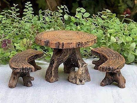 Miniatura casa de muñecas hada jardín muebles ~ resina tronco mesa con dos bancos: Amazon.es: Juguetes y juegos