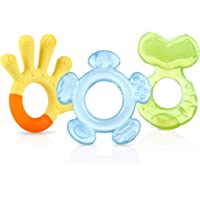 Nuby Soothing Teether Set, 3 Pack, Green/Blue/Yellow (BOY)
