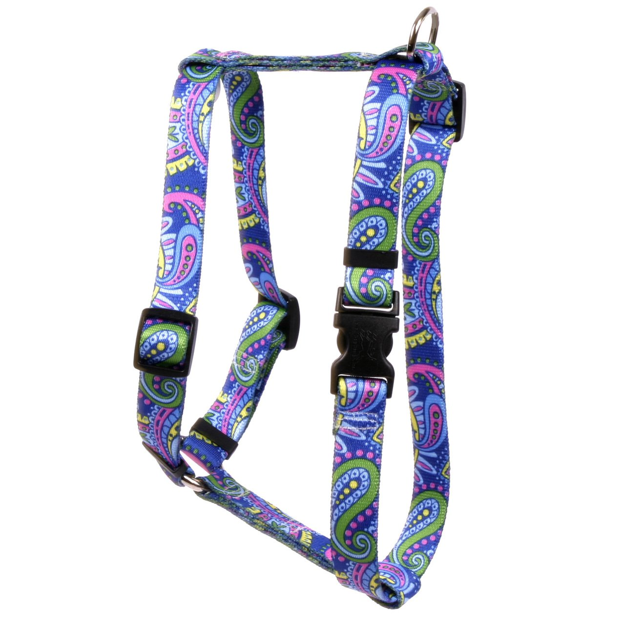 Yellow Dog Design Paisley Power Roman Style H Dog Harness, Large-1'' Wide and fits Chest of 20 to 28''