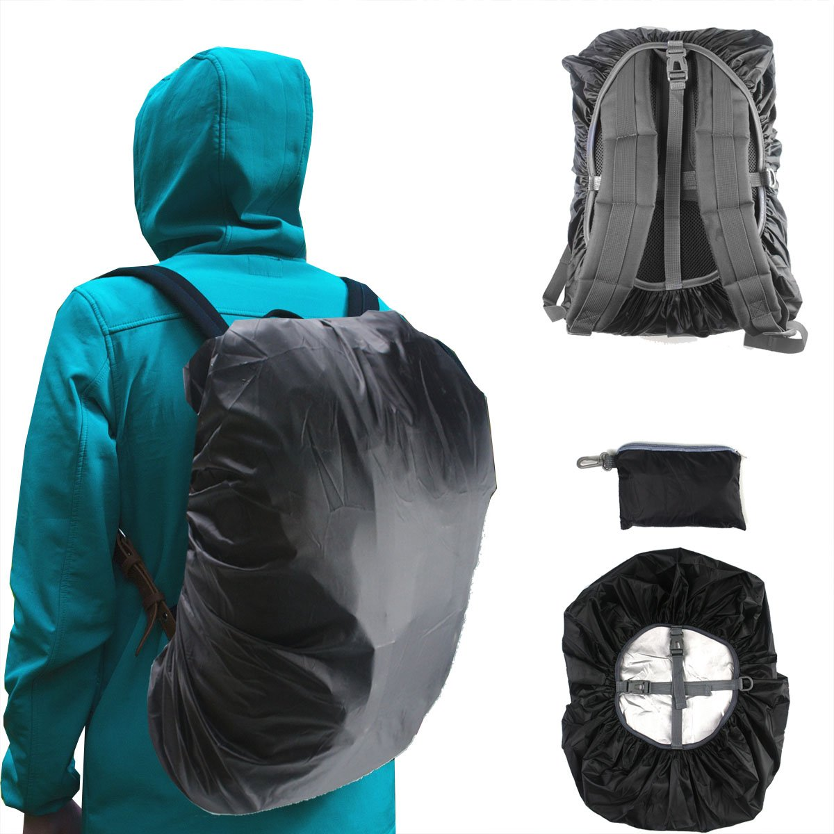 Frelaxy Waterproof Backpack Rain Cover Upgraded Vertical Adjustable Buckle Strap & Silver Coated for Hiking Camping Traveling Outdoor Activities