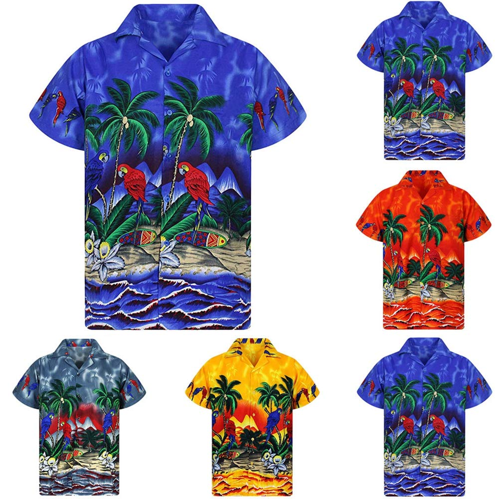 Navy-Blue,XXXL QHF Mens Hawaiian Printed Shirt Mens Breathes Beach Party Summer Retro Blouse